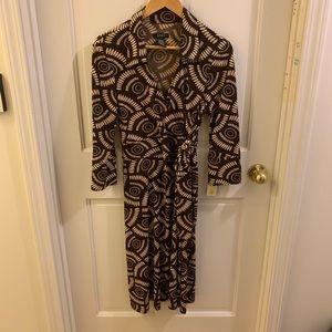 A.P.N.Y brown and cream tribal print dress